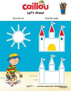 Caillou Tracing Activity_Sandcastle