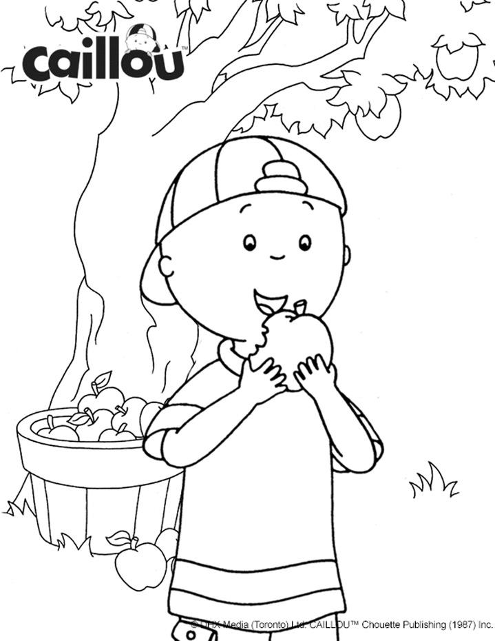 Caillous Apple Picking Fun Coloring Sheet
