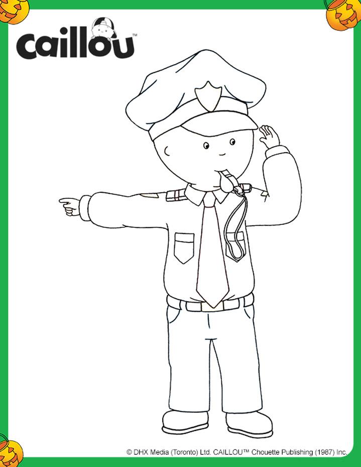 caillou policeman halloween coloring sheet
