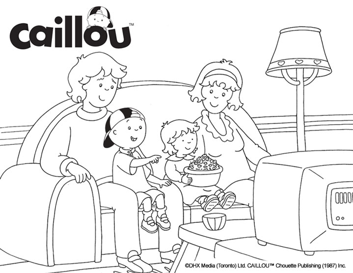 Caillou Coloring Sheet - Movie Night! - Caillou