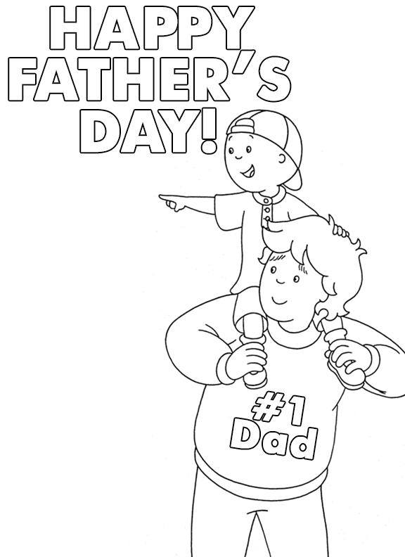 Caillou 1 Dad Printable Father S Day Coloring Sheet Caillou