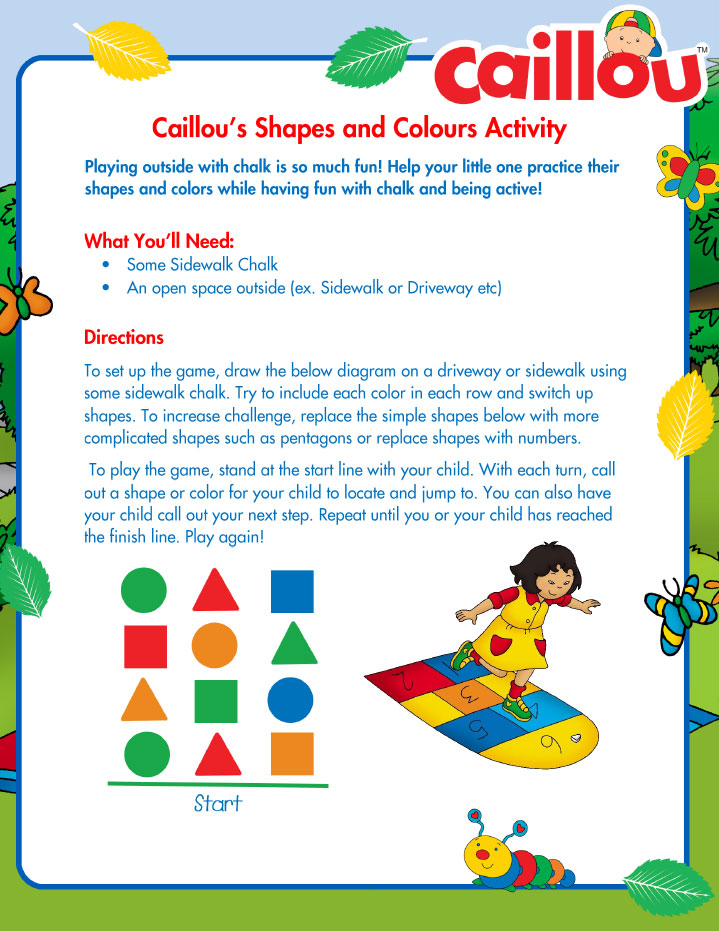 caillou summer learning activity shapes and colors with chalk caillou