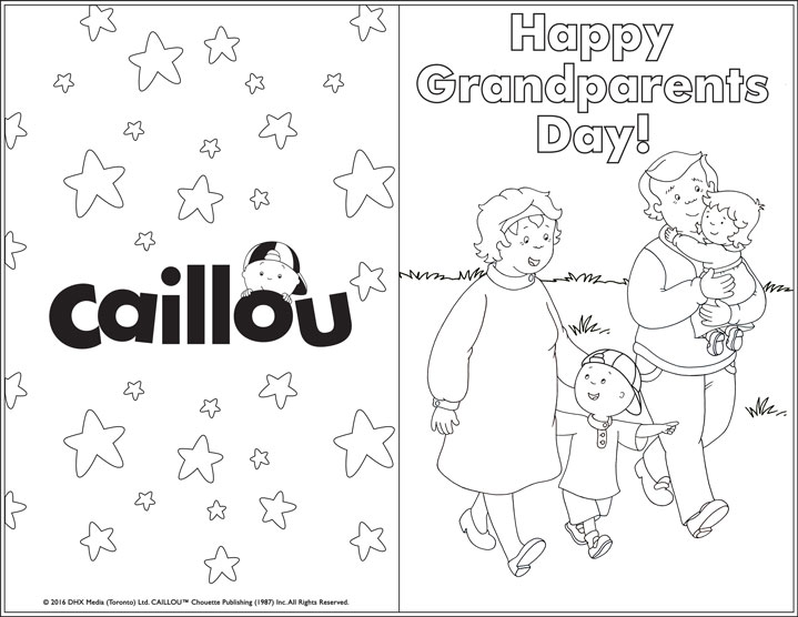 image about Printable Grandparents Day Card identified as Delighted Grandparents Working day! Printable Greeting Card - Caillou