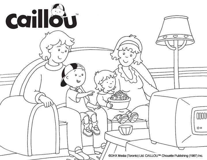 Caillou Coloring Sheet - Movie Night! - Caillou